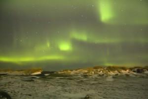 Heftig tanzendes Nordlicht an der Küste. ©Sabine Burger, Alexander Schwarz, Island - Iceland 2009 09 10