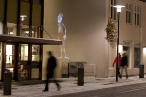 Videoinstallationen mit den diversen Weihnachtsmännern an unterschiedlichen Orten in der Innenstadt, ©Sabine Burger, Alexander Schwarz, 2011-12-03__MG_9702_00001