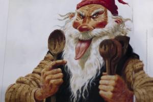 Wenn man soviel leckt, bekommt man natürlich auch eine lange Zunge, so wie hier auf der Zeichnung von Löffellecker von Brian Pilkington. ©Sabine Burger, Alexander Schwarz, 2012-12-14__MG_7002_00029